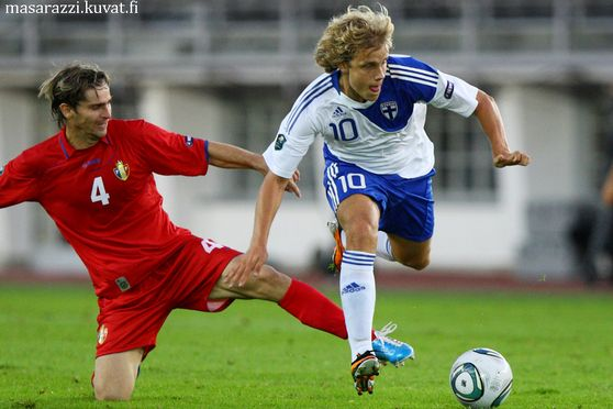 Teemu Pukki of Finland (right) and Vadim Boret of Moldovia During Finland-Moldova UEFA euro 2012 Qualifers 2nd Septemper 2011 at Olympic Stadium in Helsinki Finalnd. Photo: Matti Raivio/EASTPRESS
